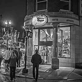 Harvard Square Nightlife Black And White Cambridge Ma by Toby McGuire