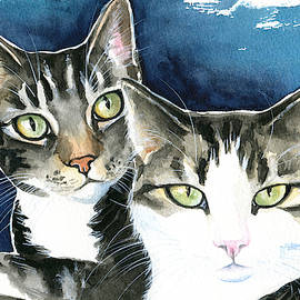 Harvey and Heidi Tabby Cat Painting by Dora Hathazi Mendes