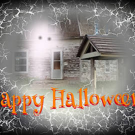Haunted House Happy Halloween Card by Delynn Addams