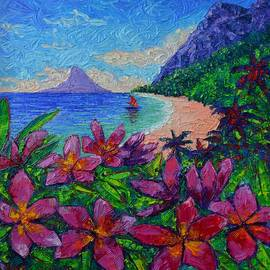 Ana Maria Edulescu - HAWAII PLUMERIA SECRET BEACH modern impressionist textural impasto knife painting Ana Maria Edulescu