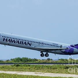 Hawaiian Airlines N493 H A Boeing 717 Tacking Off Honolulu Hawaii Art by Reid Callaway