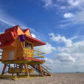 Here Comes the Sun - South Beach Lifeguard Station by Chrystyne Novack