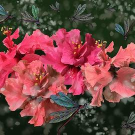 Hibiscus Flutterings with Dragons by Joan Stratton