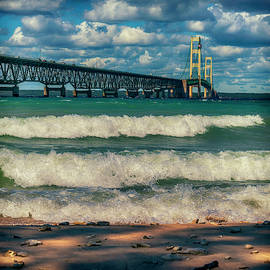High Wind and Waves at Mackinac Bridge MI GRK5444_08092019  by Greg Kluempers