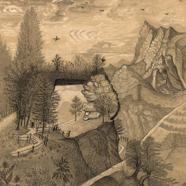 Hikers Climbing Up To A Mountain Chalet by Henri Rousseau