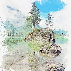 Hintersee, Ramsau Bei Berchtesgaden, Germany -  Watercolor By Adam Asar by Adam Asar