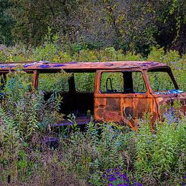 Hippy van in a field by Minnetta Heidbrink