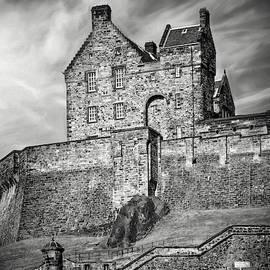 Historic Edinburgh Castle Scotland Black and White by Carol Japp