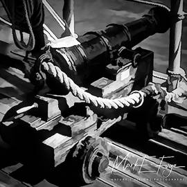 H M S  Bounty Starboard Canon - B - W by Mark Fuge