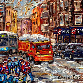 Hockey Art Streets Of The Pointe Sw Montreal Winter Scene Chic Regal Resto C Spandau Quebec Artist by Carole Spandau