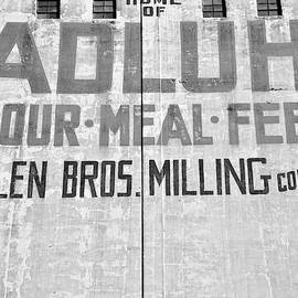 Home Of Adluh Flour Meal Feed Mill Black And White by Lisa Wooten