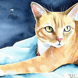 Honey Ginger Tabby Cat Painting by Dora Hathazi Mendes