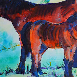 Horse And Foal Painting - Mother And Child On Dartmoor by Mike Jory