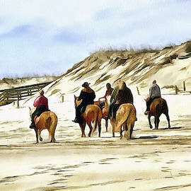 Horse back on the Jersey shore beach by Geraldine Scull