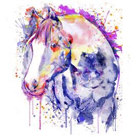 Horse Head Watercolor Portrait by Marian Voicu