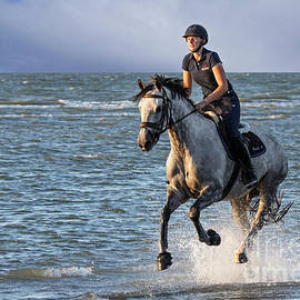 Horsewoman Riding In Sea by Arterra Picture Library