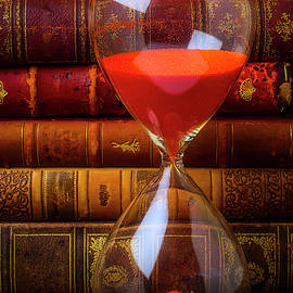 Hourglass And Old Books by Garry Gay