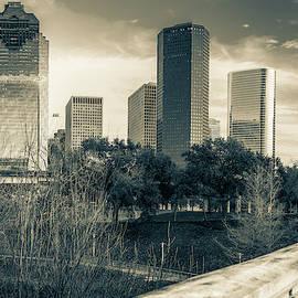Houston Texas Skyline And Sabine Street Bridge - Sepia by Gregory Ballos