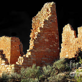 Hovenweep Castle Ruins Detail No. 1 On Black by Douglas Taylor
