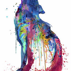 Marian Voicu - Howling Wolf Watercolor Silhouette