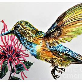 Hummingbird and Bee Balm by Mindy Newman
