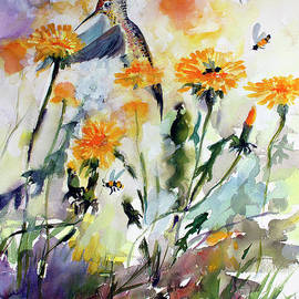 Hummingbird And Dandelions by Ginette Callaway