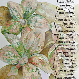 I Am...positive Affirmation In Coral And Green by Shadia Derbyshire
