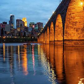 Iconis Minneapolis Stone Arch Bridge Evening by Wayne Moran