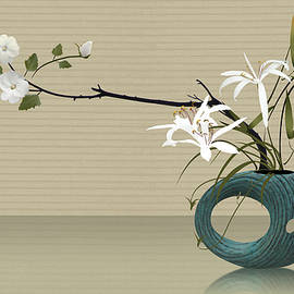 Ikebana with Turquoise Vase by Spadecaller