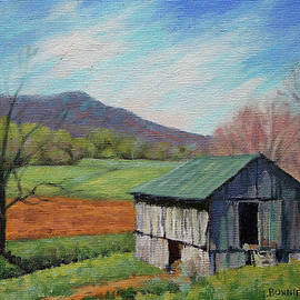 Ikenberry's Barn in spring -  old barn with teal roof by Bonnie Mason