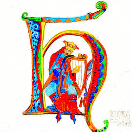 Illuminated Letter H by Genevieve Esson