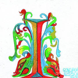Illuminated Letter I by Genevieve Esson