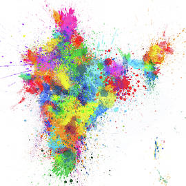 India Paint Splashes Map by Michael Tompsett