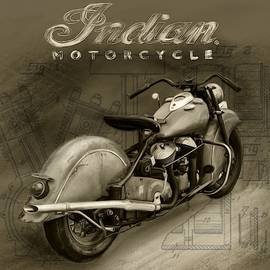 Indian Motorcycle sepia vintage by Mark Tonelli