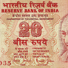 Indian Rupee Notes With Portrait Of Gandhi  by Steve Estvanik