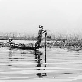 Inle Lake Fisherman Bw5 by Mache Del Campo