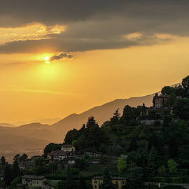 Italian Hilltop Villas - On the Verge of Sunset in San Vigilio Bergamo Lombardy Italy by Georgia Mizuleva