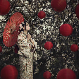 Japanese woman and flying lanterns by Masha Lince