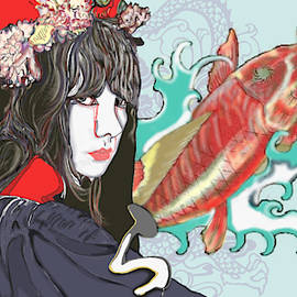 Japanese Women With Koi  by Marshal James