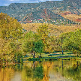 Jerome Reflected in Deadhorse Ranch Pond by Priscilla Burgers