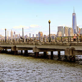 Jersey City Liberty Park pier boardwalk and walkway  by Geraldine Scull