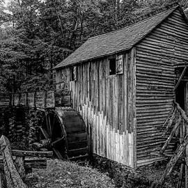 John P. Cable Grist Mill Black and White by Judy Vincent