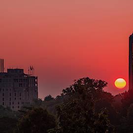Kansas University Skyline Red Dawn Sunrise by Gregory Ballos