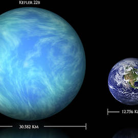 Kepler 22b And Earth Comparison by Marc Ward
