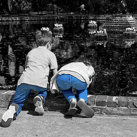 Kids at the Pond in Blue Jeans by TJ Baccari