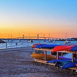 King Park Kayaks At Sunset Newport Rhode Island Ri Newport Harbor Pell Bridge by Toby McGuire