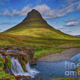 Kirkjufell Mountain And Waterfalls At  Iceland by Susan Dost