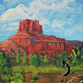 Kokopelli and Bell Rock, Sedona, Arizona  by Chance Kafka
