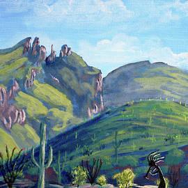Kokopelli and Finger Rock, Tucson, Arizona by Chance Kafka