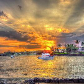 Kukuiula Bay Small Boat Harbor Sunset 8 Kauai Hawaii Art  by Reid Callaway